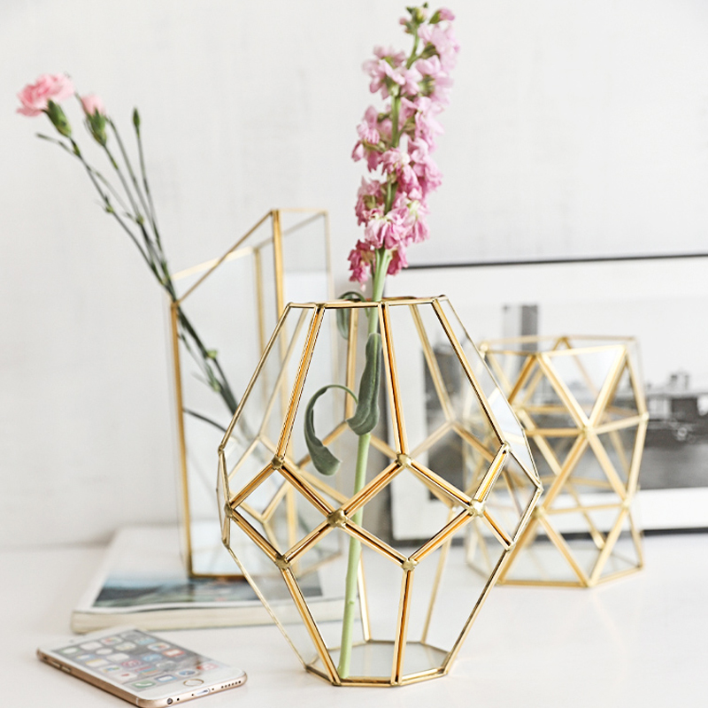 Nordic Style Creative Golden Vase Figurines Copper Crafts Glass Geometric Shape Vase Ornament Miniatures Home Decor Accessories in Vases from Home Garden