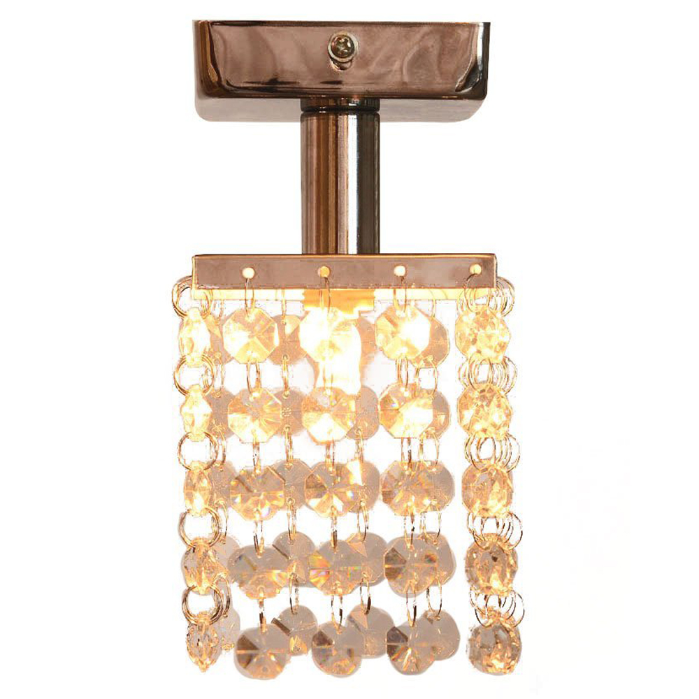 1 Light Mini Semi Flush Mount Crystal Pendant Chandeliers with Solid Fixture in Chrome Finish for Entry, Bedroom, Living Room