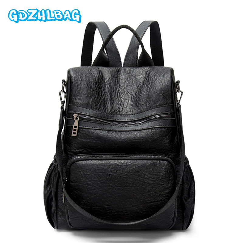 Vintage Leisure Women Backpacks Womens PU Leather Backpacks Female School Shoulder Bags for College Girls Travel Back Pack B245