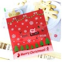 50sets 100pcs/set Cookie packaging Christmas Santa Claus Reindeer favor self adhesive gift plastic bags 10x10cm WA0944
