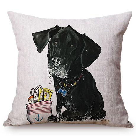 Pet Dog Animals Funny Style Cushion Cover Dachshund Schnauzer Dog Children Like Cotton Linen Sofa Decorative Throw Pillow Case M110-3
