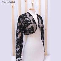 Black Lace Wedding Jacket Long Sleeve Bridal Bolero Elegant Short Dress Jacket Accessories DJ032