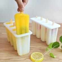 купить 4/6 Cavity Ice Cream Mold Makers Food grade PP material Home DIY  With Popsicle sticks tray lid дешево