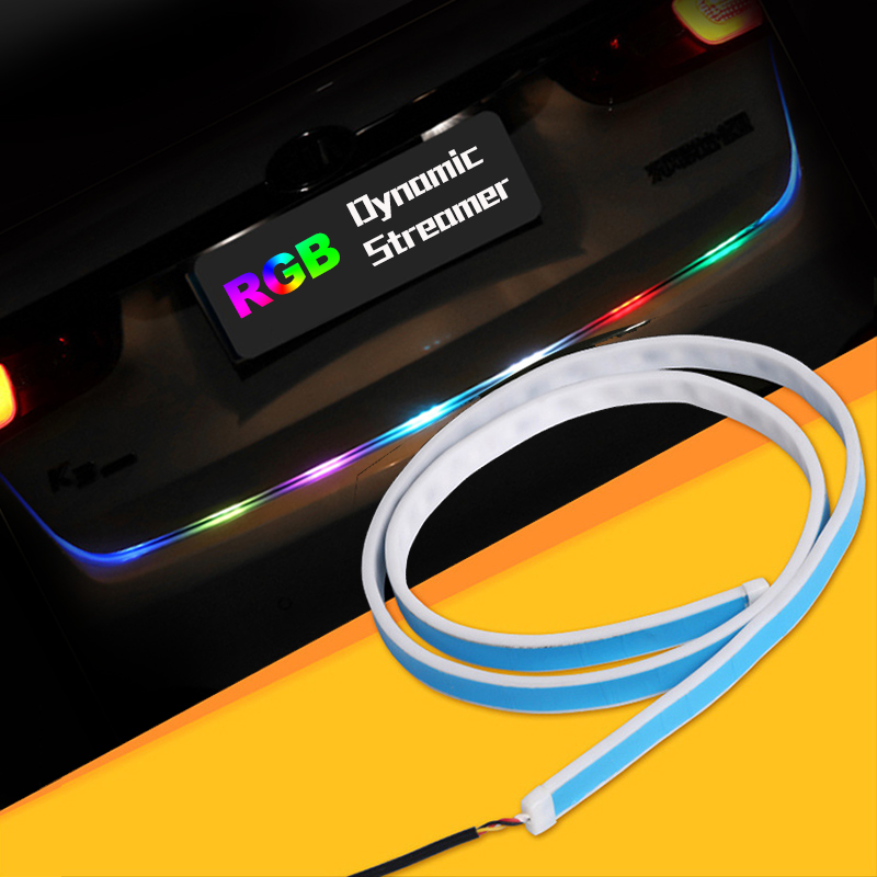 48inch 60inch Multicolor RGB LED Strip for Car Tailgate Trunk Lamp Turn Signal Lights Bar Strip Tail Box Light Streamer Strips