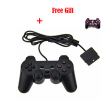 Wired For PS2 Controller Dual Vibration Joystick Gamepad Joypad For PS2 Playstation 2 Black with LOGO Free Shipping