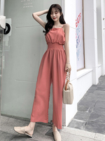 2019 summer women high street solid ruffles pleated sling jumpsuits ladies wide leg pants casual chiffon pink rompers