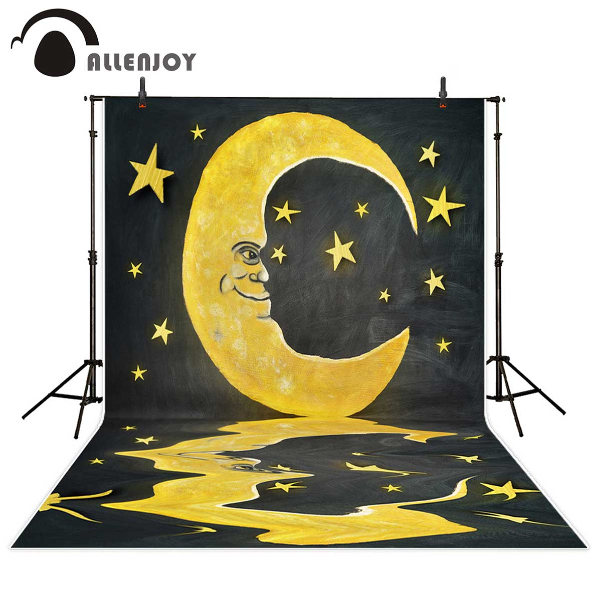 Allenjoy backgrounds for photo studio Moon stars blackboard painting children fairy tale backdrop newborn original design props fairy tale arch printed newborn baby photo backdrops art fabric backdrop for studio children photography backgrounds d 9822
