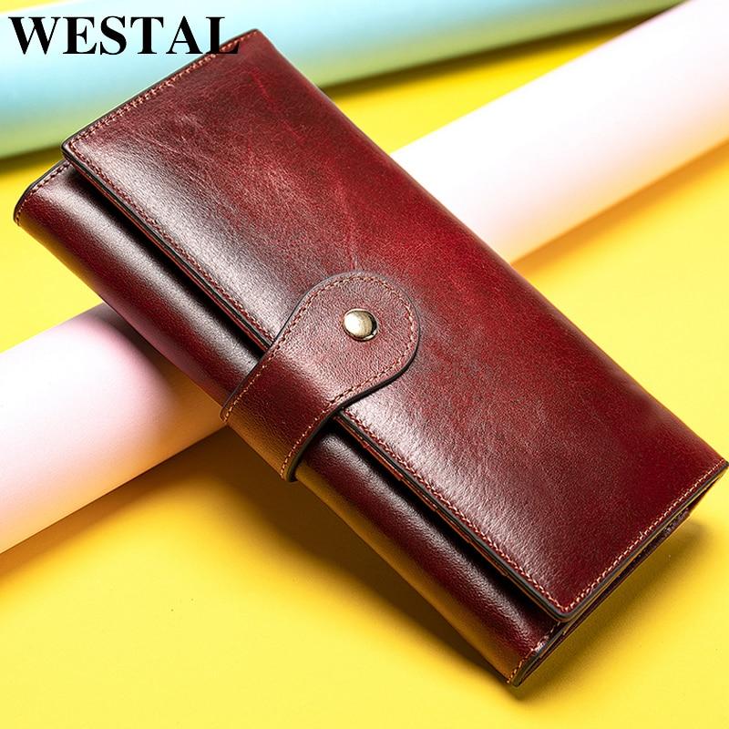 WESTAL Long Wallet Purses Money-Bag Clutch Phone/Cards Female Genuine-Leather Women Girl