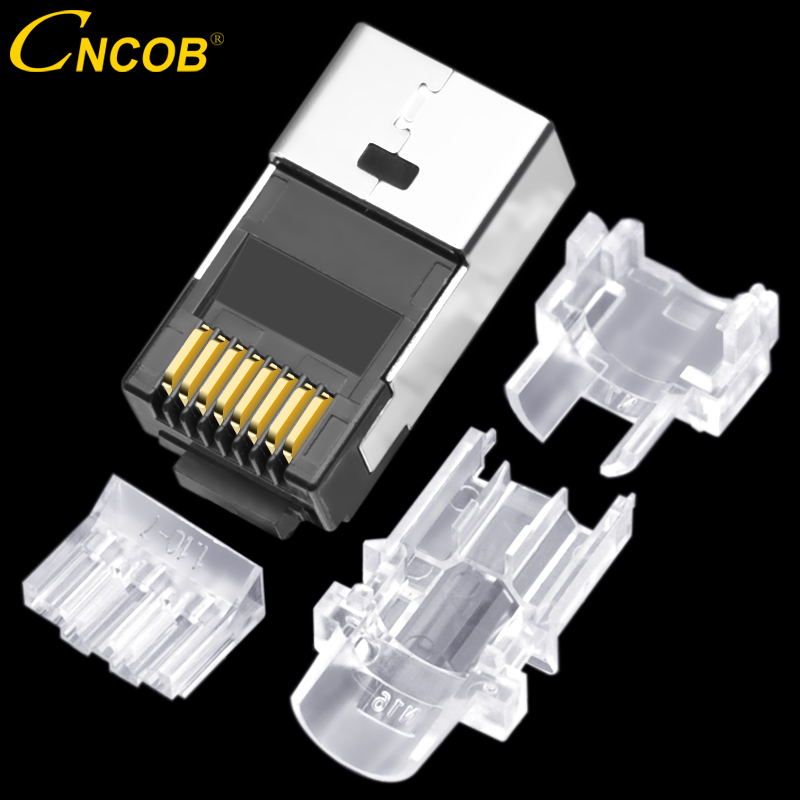 CNCOB Cat6 8p8c 50u gold plated four piece cable connector Ethernet modular Cat6A rj45 network connector computer crystal plug
