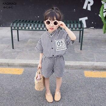 Summer Korean style baby girs plaid clothes set infant kids children cotton linen short sleeve T Shirt+shorts 2pcs suits outfit