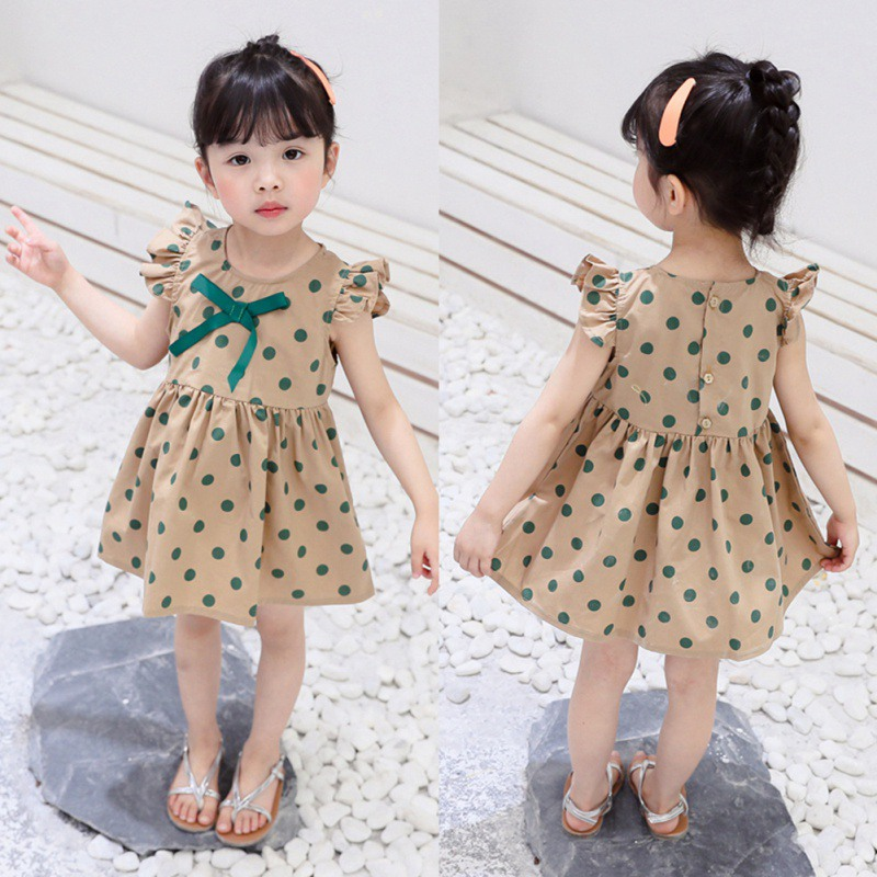 4ab688425 Summer Baby Girls Casual Cute Polka Dot Pattern Flare Sleeve Dress Kids  Toddler Pageant Sundress