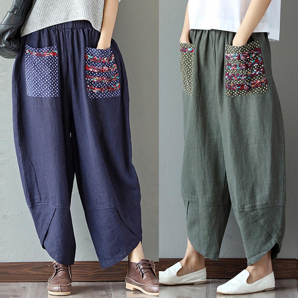 Women Retro Wide Leg Harem Pants Cotton Linen Baggy Long Trousers Pants High Waist Casual Loose Trousers Рубашка