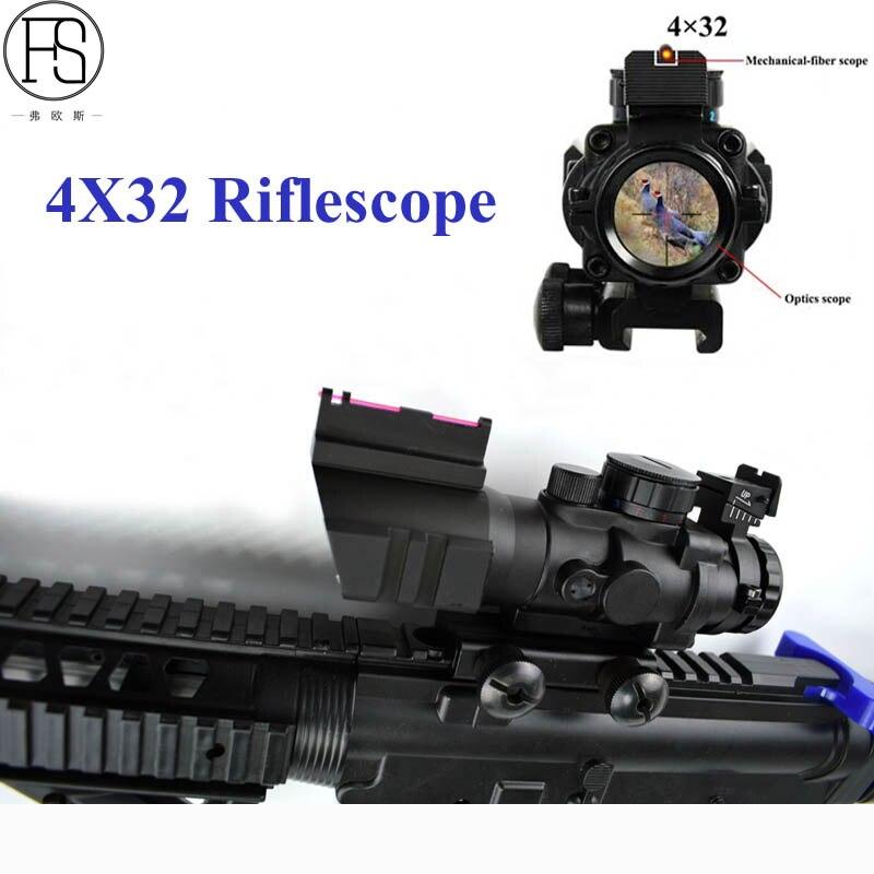 Tactical 4x32 Riflescope Hunting Reflex Optics Scope Hunting Airsoft Gun Rifle Sniper Scope Magnifier Tactical Sight 20mm Rail 3x magnifier scope compact tactical sight with flip to 20mm rifle gun rail mount use with 551 552 553 riflescope