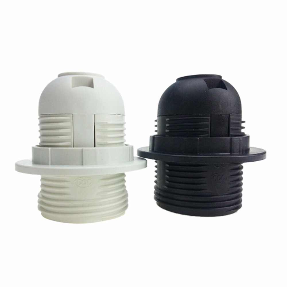 1PCS 250V 4A E27 Light Bulb Base Plastic Full Screw Lamp Holder Pendant Socket Lampshade Ring for E27 Light Bulb White Black