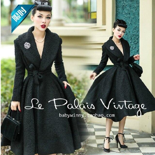 c0aecd27686 40- le palais vintage women 50s pinup long swing wool coat in black plus  size manteau d hiver rockabilly femme abrigos mujer