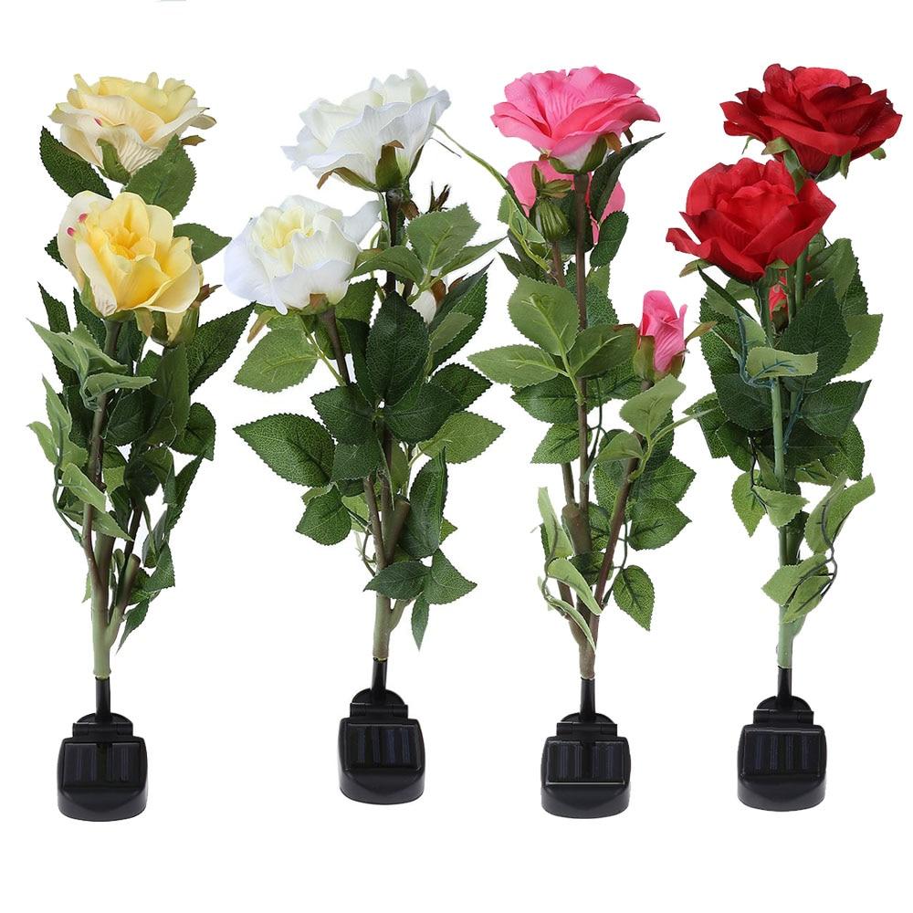 Outdoor Solar Powered LED Light Rose Flower Lamp for Yard Garden ...