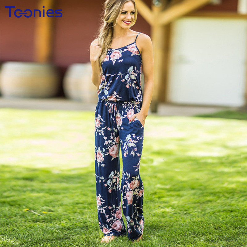 European Style Flowers Printed Combinaison Femme Sleeveless Summer Casual Rompers Womens Jumpsuit Plus Size Jumpsuit Women