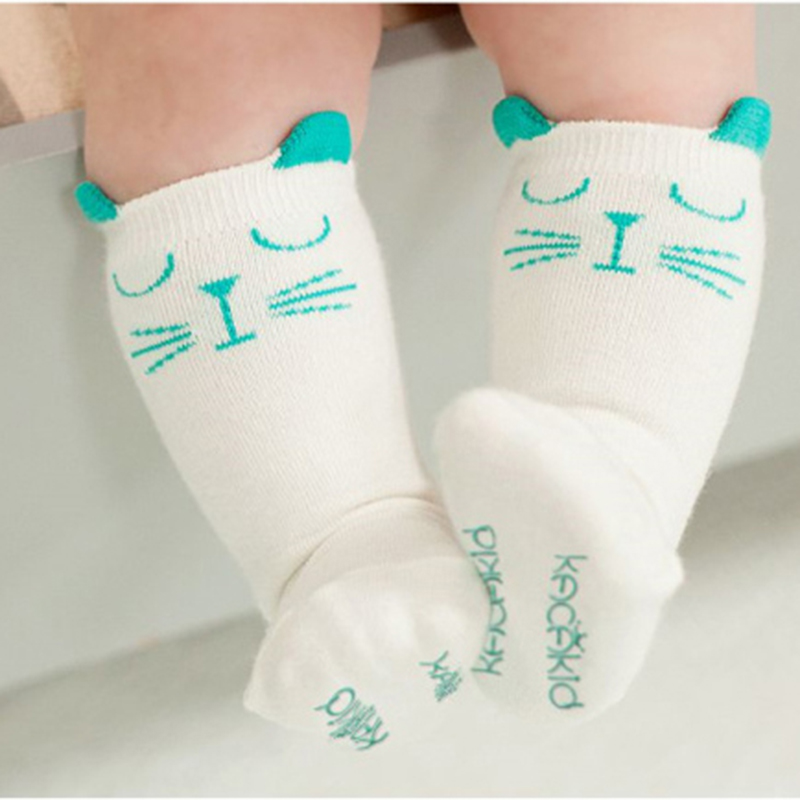 Cotton Baby Socks Animal Printed Knee High Kids Boy Girl Socks Anti Slip Cartoon Cat Leg Warmers 0-2 Y