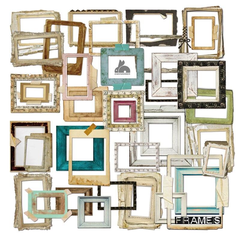 ZFPARTY 35 pièces cadres Photo Vintage papier cartonné découpé pour bricolage scrapbooking/album photo décoration artisanat