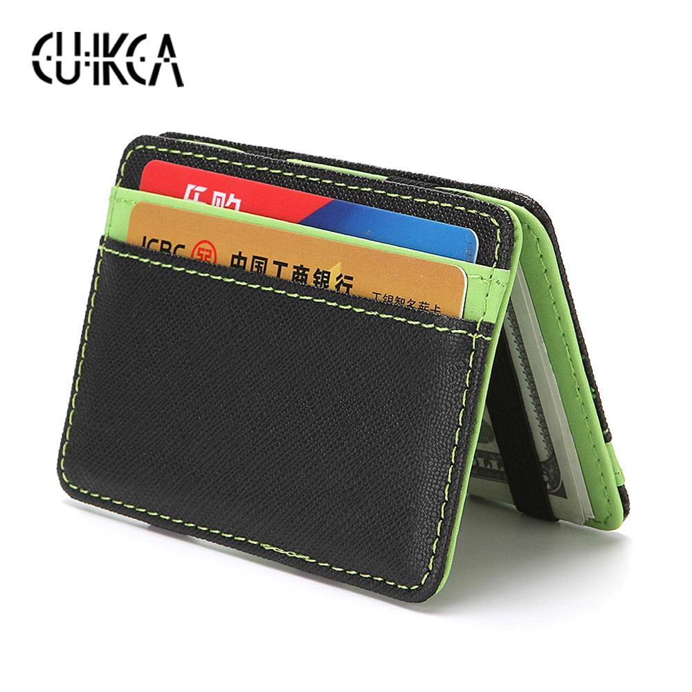 CUIKCA Korean Version Unisex Magic Wallet Money Clips Women Men Wallet Purse Carteira Slim Leather Wallet ID Credit Card Cases