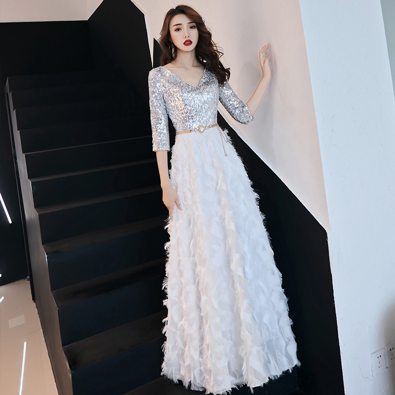 weiyin White Half Sleeves Backless A-line V-neck Zipper Draped Party Frocks Dresses Floor Length Evening Dresses WY952