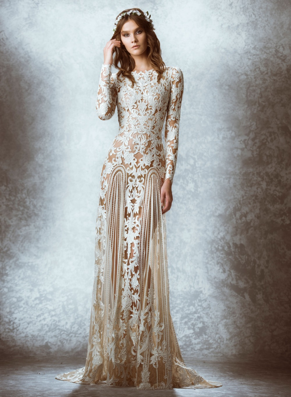 2015 Zuhair Murad Lace Vintage Wedding Dresses Long Sleeves Court ...