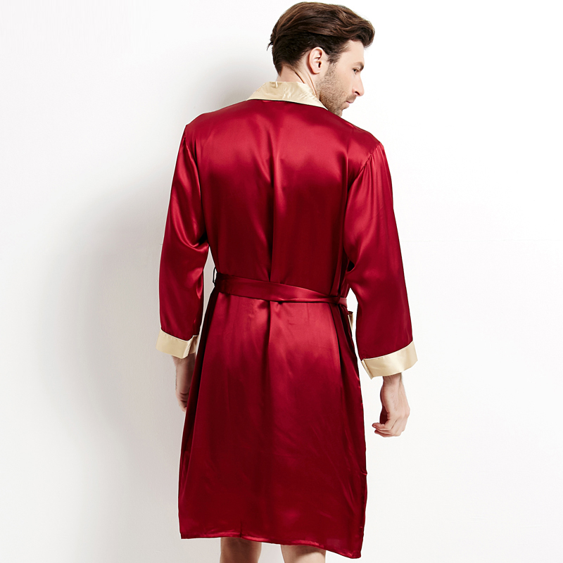 High Quality Real Silk Sleeping Robes Male Genuine Silk Sleepwear Men Long Sleeve Bathrobe Shorts Two-Piece Home Clothing 2508