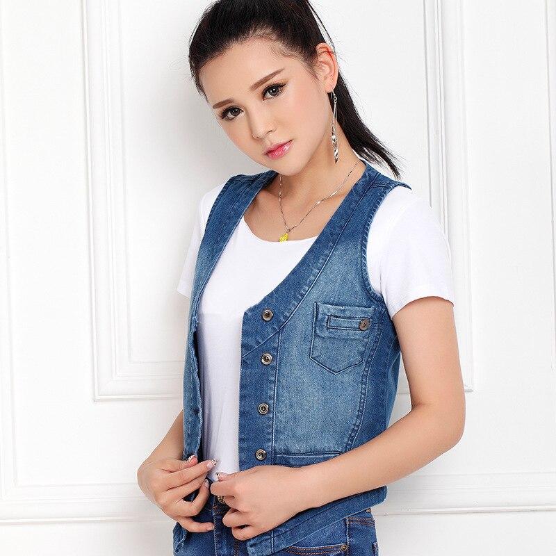 S 5XL Newest Casual New Short Denim Jeans Jacket Vest Women Vestidos Femininos Vests Sapphire By