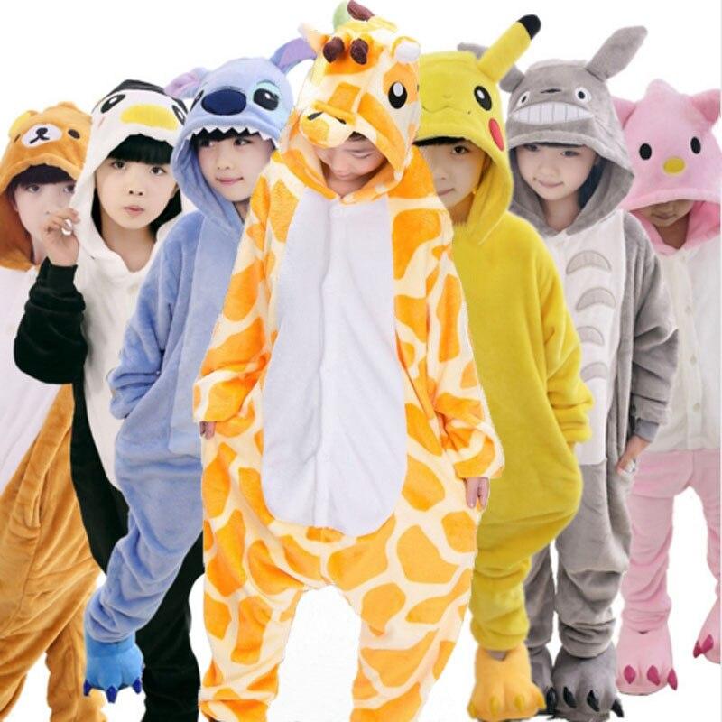 90-160cm Panda Kigurumi Animal Unicorn Onesie Kids Flannel Pajamas Boys Girls Winter Cosplay Party Jumpsuit Sleepwear Pijama drop crotch unicorn onesie
