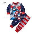 Nueva Caliente Pijamas Set Todo el Algodón de Algodón Bebés Pijamas Niños Pijamas de Spiderman Capitán América 2 Unidades Set Niños pijamas