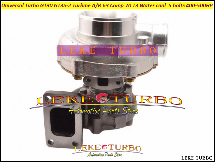Turbo Turbocharger Universal Turbo GT30 GT35-2 AR .63 Comp. AR .70 T3 Water cooled and Oil cooled outlet 5 bolts 400HP-500HP (3)