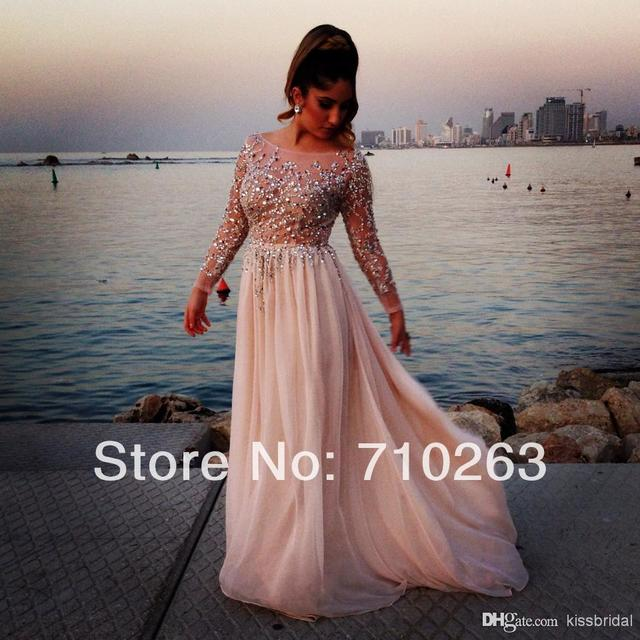 42dd36b889 2014 Prom Ball Gown Bead Sequins Bodice A Line Boat Neck Long Sleeve Long  Chiffon Formal