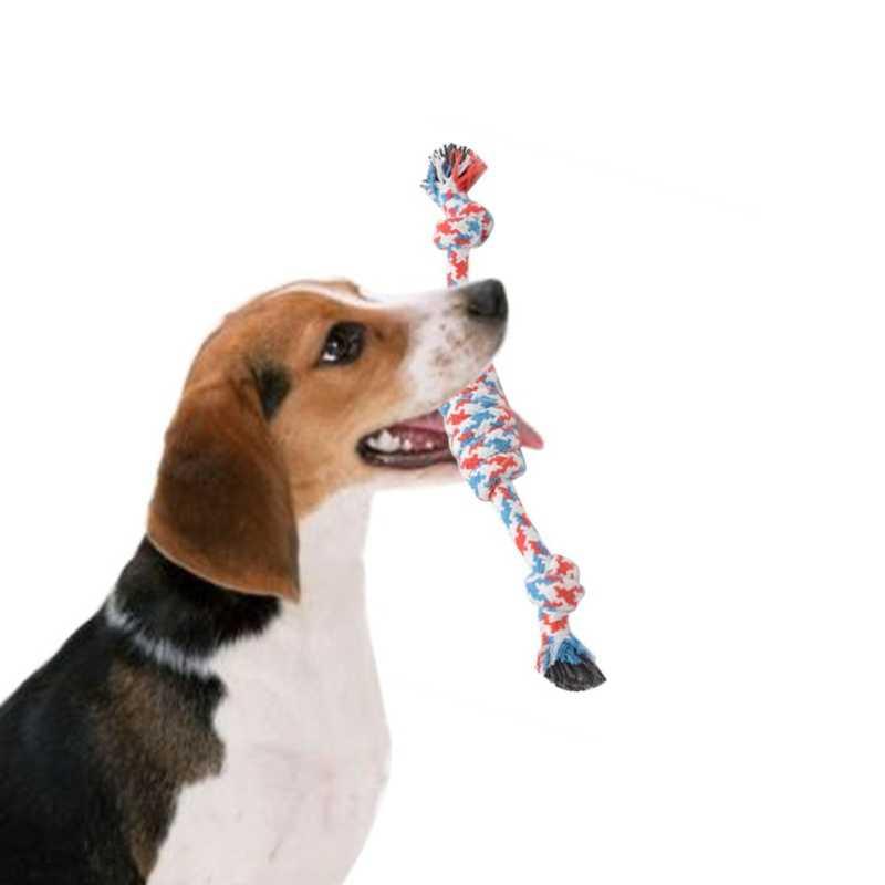 Puppy Dog mascota de juguete de algodón trenzado cuerda de hueso Chew nudo Perros dientes cleanning Bitting formación