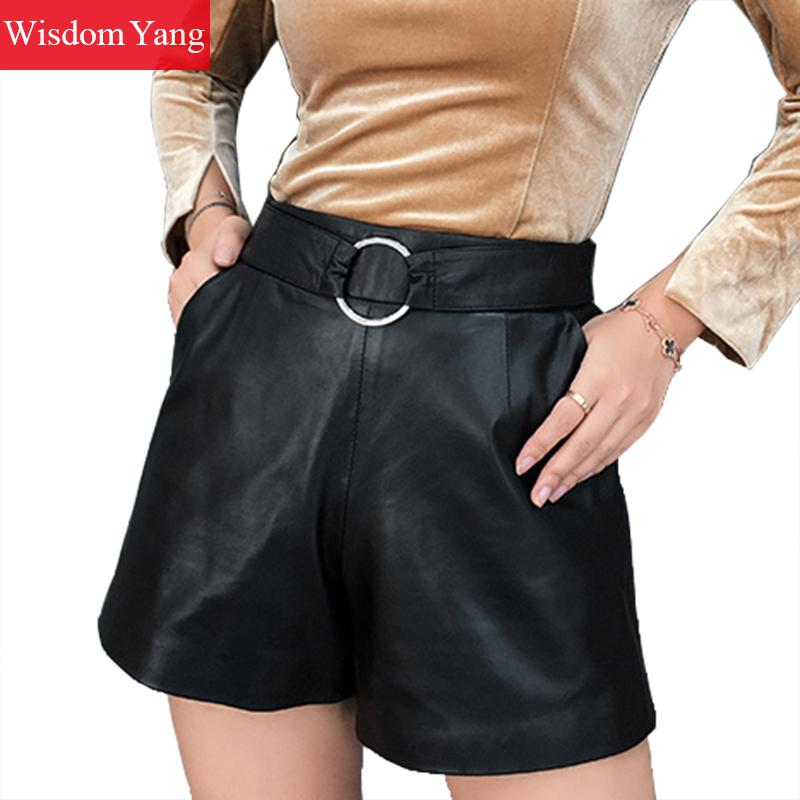 Autumn Wide Leg Real Sheep Skin Genuine Leather Shorts Winter Women Elastic High Waist Shorts Ladies Black Short Flare Trousers