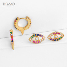 Romad Trendy Gold Hoops Earrings Round Circle Geometric Huggie Earrings Evil Eye Rainbow CZ Mini Small Loop Women Girl W3
