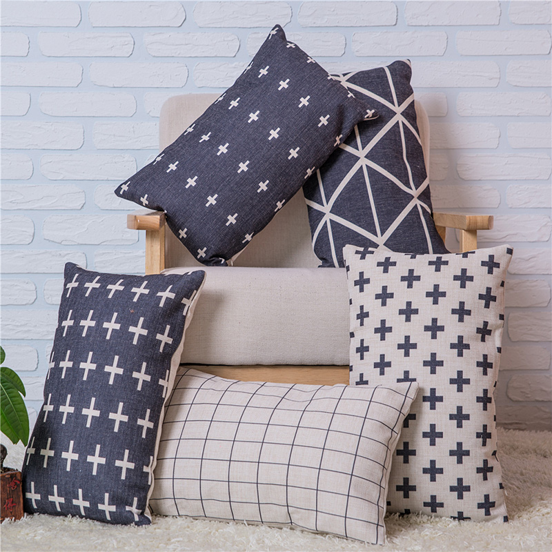Black and Beige Geometry Cross Throw Pillows Case Linen Cushion Cover Creative Decorative for Sofa Car 30x50cm Cojines