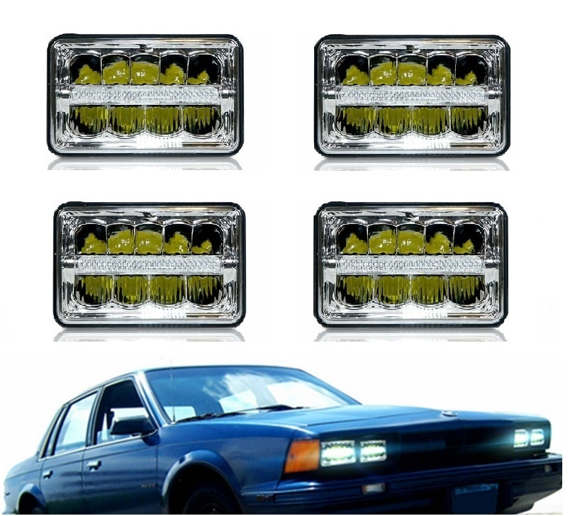 4x6 Inch LED Headlights Rectangular Driving Lamps Hi/Lo Beam Replace HID Xenon H4651 H4652 H4656 H4666 H6545 for Ford (4 pcs)