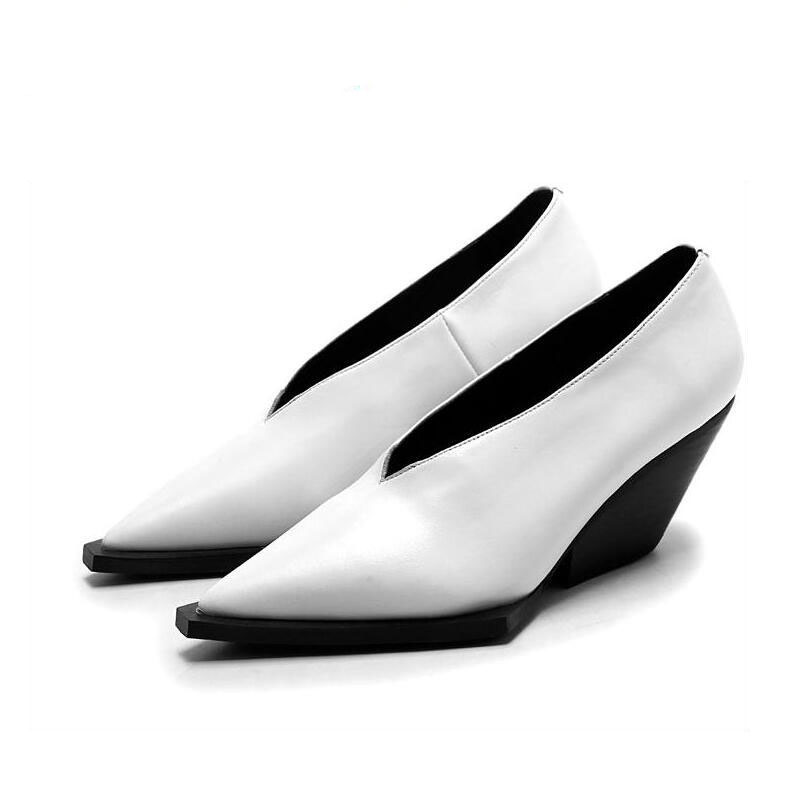 2017 New fashion high heel women brand pumps wedges lady solid color square toe increased shoes runway model show lazy shoes 2017 new fashion brand shoes solid wedges genuine leather platform shallow women pumps high heel party lady causal party shoes