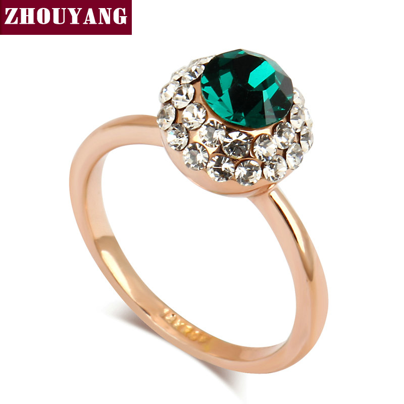 Top Quality ZYR262 Green Crystal Rose Gold Color Ring Austrian Crystals Full Sizes Wholesale