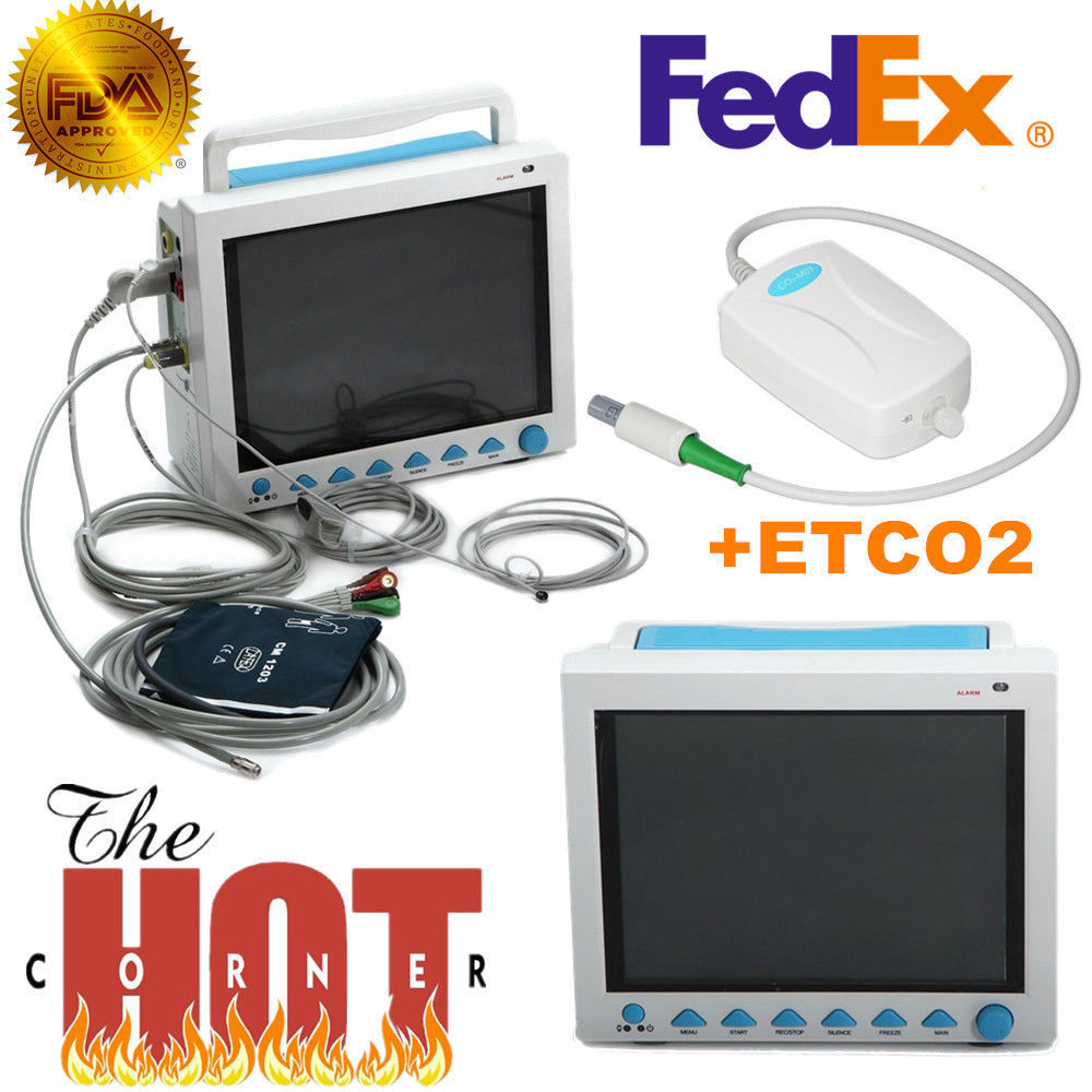 CMS8000 Avec Capnograph CO2 Moniteur Patient ETCO2 Signes Vitaux 7 Paramètres USA