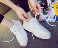 2016 Fashion Sweet Flatform Round Toe lace up Canves Hot Satr lady Loafers Casual women shoe