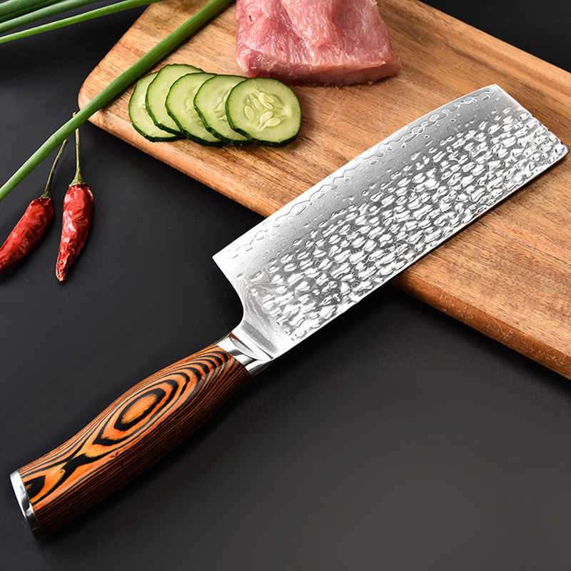 New 6.5inch High-Quality Kitchen Knife Japanese VG10 Damascus Chef Knife Color Wood Handmade Forged Santoku Cleaver Slicing Tool