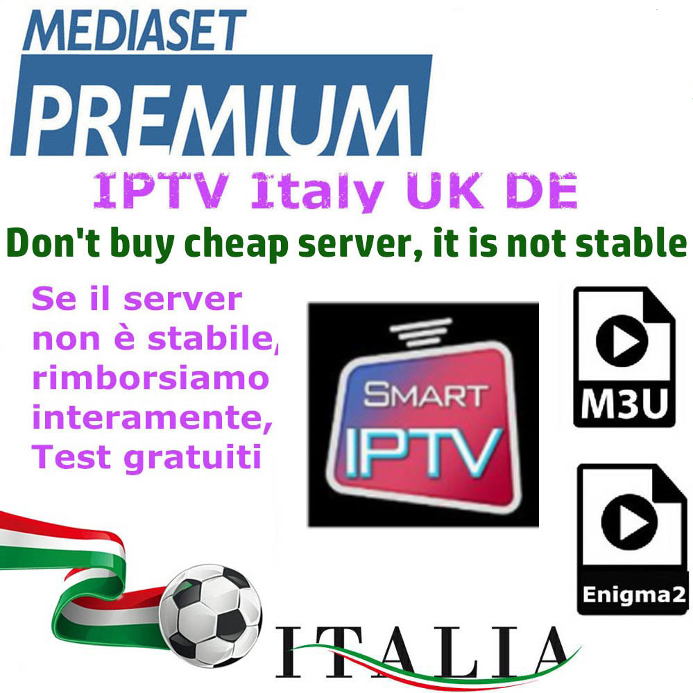 IPTV M3u Subscription Iptv Italy German Mediaset Premium For Android Box Enigma2 Smart TV PC Linux
