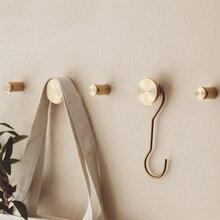 Золотой латунный медный Скандинавский современный дизайн настенная одежда крючок для халата вешалка для Крючки для коридора рельсы Декор