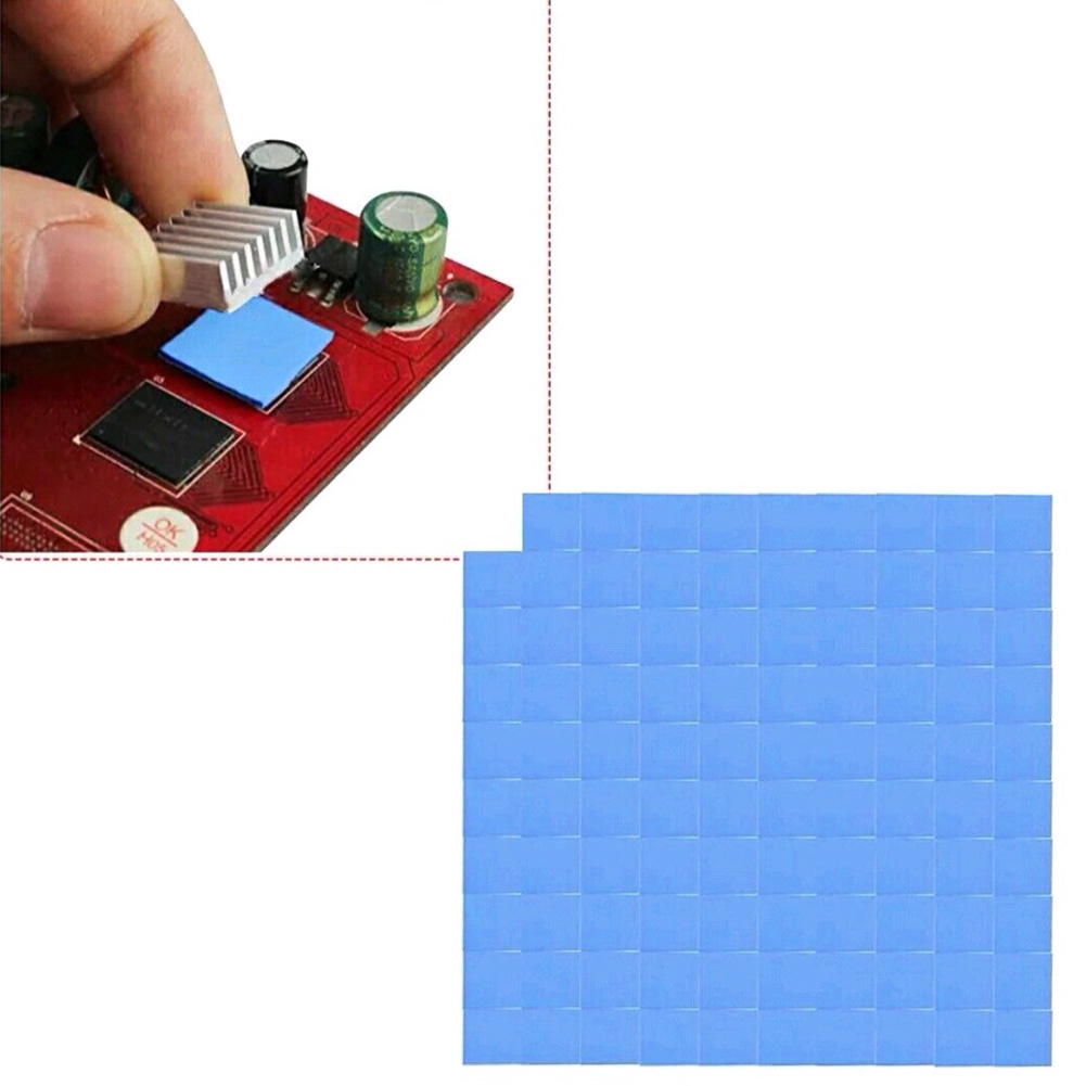 10X10X1mm 100pcs Heatsink Cooling Thermal Gasket Silicone Pad Thermal Pad Heatsink Cooling Conductive Silicone Pad GPU CPU