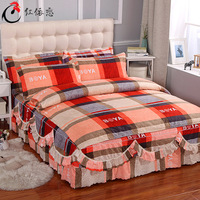 Klonca beding set New Simple Four piece Grinding Twill bed set contracted bed skirt set