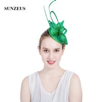 Green Feathers Wedding Fascinators and Hats Linen Flowers Party Hair Decoration kapelusze damskie na wesele SH75