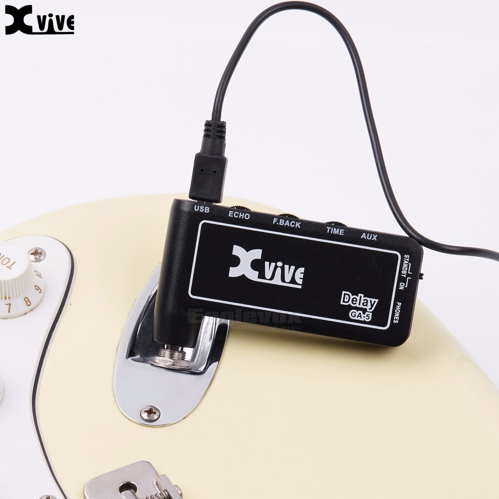Portable Electric Guitar Amplifier Xvive GA-5 Delay Guitar Micro Amp Echo Feedback Time Controls Lightweight Headphone Amp mini micro battery powered portable guitar amp classic marshall guitar portable and lightweight