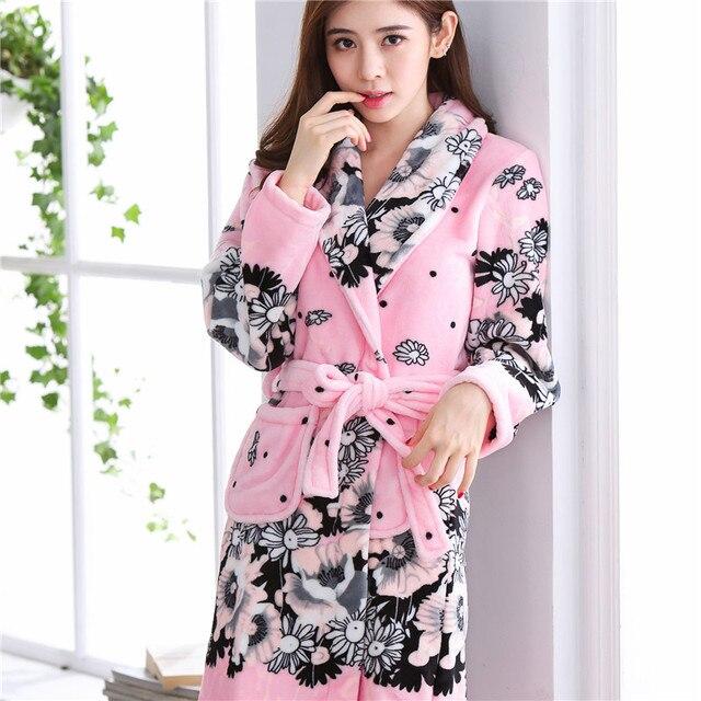 Winter Autumn Women Coral Fleece Robe Mujer Sleepwear Warm Lady ...