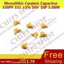 1 ЛОТ = 50 ШТ. Монолитные Керамические Конденсаторы 330pF 331 5% 50 В DIP 5.08 ММ 0.33nF